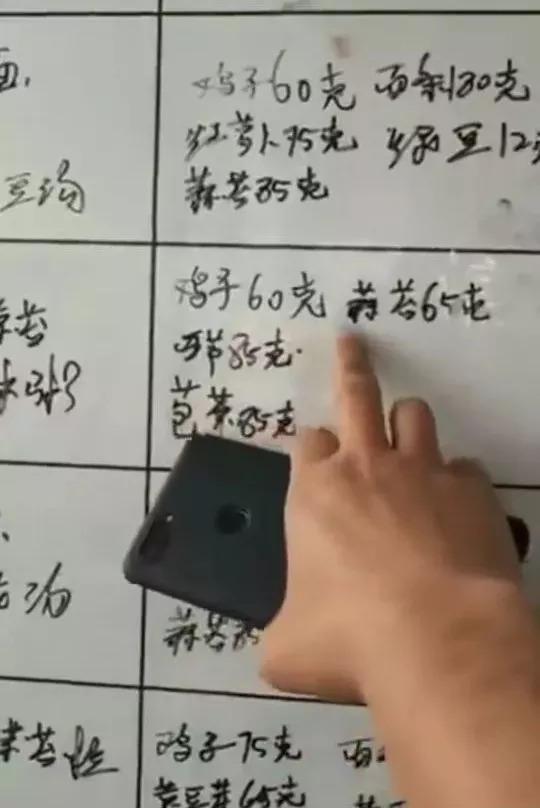 △食堂墙上公布的每日菜谱