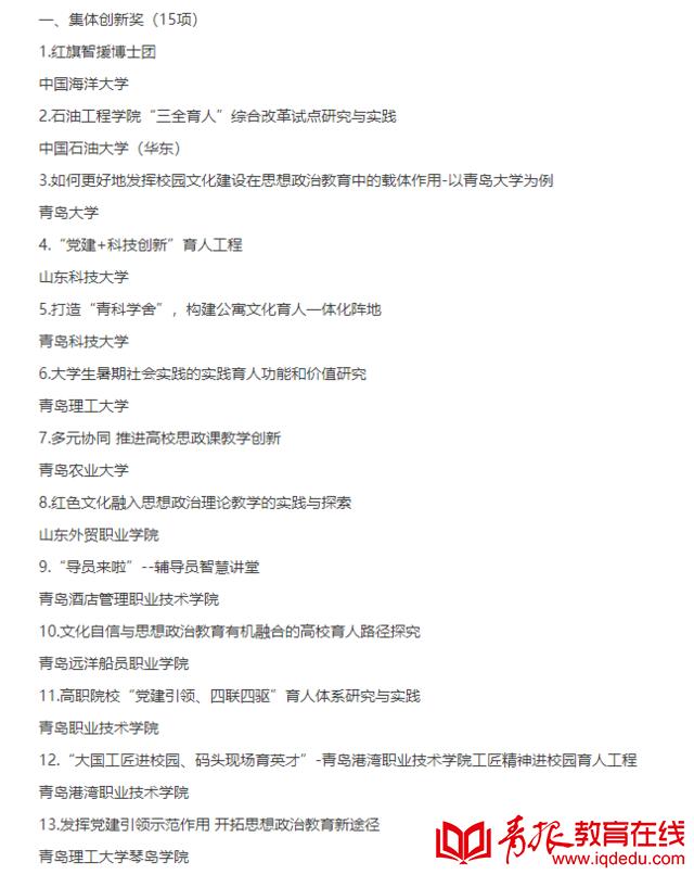 高校思想政治工作标杆!第六届青岛高校思想政治工作创新奖获奖名单出炉